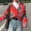 [Preorder] เสื้อเชิร์ตแขนยาวลายใบไม้ ใส่เป็นเสื้อคลุมได้ มีสีเขียว/แดง thumbnail 3