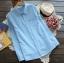 [พร้อมส่ง] เสื้อเชิร์ตลายสก๊อตสีพาสเทลหวาน มีสีฟ้า thumbnail 1