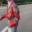 [Preorder] เสื้อเชิร์ตแขนยาวลายใบไม้ ใส่เป็นเสื้อคลุมได้ มีสีเขียว/แดง thumbnail 2