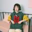 [พร้อมส่ง] เสื้อแขนสั้น Angel มีฮูดมีชายเสื้อยาวด้านข้าง สีเขียว thumbnail 1