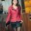 พร้อมส่ง XL เสื้อแจ็คเก็ตหนัง เสื้อแจ็คเก็ตผู้หญิง เข้ารูปพอดีตัว คอจีน มีปก สีแดง แต่งซิปเก๋ ขลิบดำ แฟชั่นเกาหลี thumbnail 1