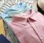 [พร้อมส่ง] เสื้อเชิร์ตลายสก๊อตสีพาสเทลหวาน มีสีฟ้า thumbnail 3