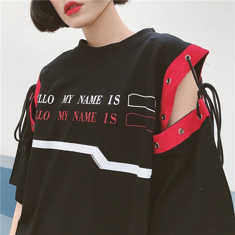 [พร้อมส่ง] เสื้อตัวยาวหลวมสไตล์เกาหลีแขนเย็บผูกด้วยเชือก สีดำ