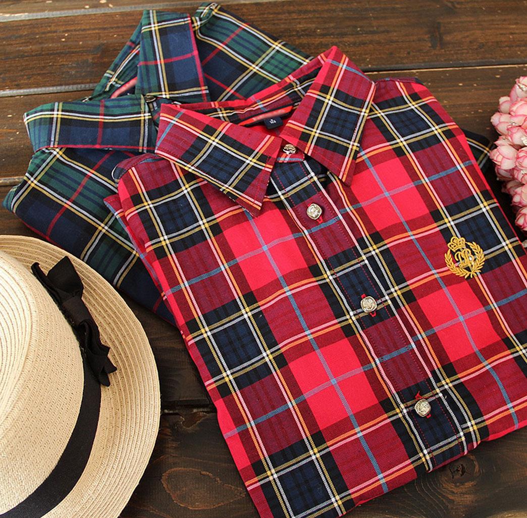 [พร้อมส่ง] เสื้อเชิร์ตลายสก๊อต มีสีแดง/ส้มชมพูพีซ/เขียวน้ำเงิน