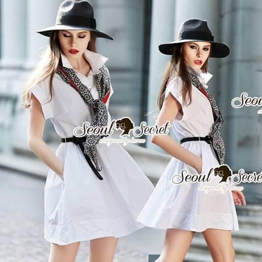 Seoul Secret Say's... Scarfy Whity A Shape Dress Material : เดรสเชิ้ตสีขาว เนื้อผ้าคอตตอนเนื้อสวยอย่างดี สวยเก๋ด้วยทรงเดรสเชิ้ต มีดีเทลเก๋ๆ รับ Autumn ด้วยผ้าพันคอพิมพ์แยกชิ้นได้นะคะ ลายสไตล์คลาสสิค เรียบเก๋ๆ ดูดีแบบมีคลาส เติมความเก๋ด้วยเข็มขัดและผ้