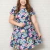 ชุดเดรสสาว Plus size แขนสั้นผ้าโพลีเอสเตอร์สีน้ำเงินพิมพ์ลายดอกไม้สีสันสดใส (3XL,4XL)