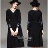 Luxurious Embroidered Smart Black Dress เดรสตัวยาวทรงสวยผสมงานปักค่ะ เนื้อผ้าโพลีเอสเตอร์ผสมได้นุ่มใส่สบาย เนื้อผ้าทิ้งตัวเก็บทรงได้สวยเหมือนแบบ ทรงคอวีแขนยาว กระโปรงทรงปล่อย ช่วงแขนปักผีเสื้อสีสวยเพิ่มดีเทลให้กับชุดได้สวยลงตัว งานสวยเหมือนแบบ ใส่ได้หลายโ