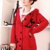 เสื้อไหมพรมนำเข้า : เสื้อกันหนาวไหมพรม พร้อมส่ง ตัวยาว สีแดง ลายมิกกี้เมาส์ มีฮูท ด้านในเป็นขนสัตว์สังเคราะห์ เนื้อนิ่ม น่ารักๆ