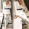 สินค้าพร้อมส่ง 한국에 의해 설계된 2Sister Made, White Premium Deluxe Korea Set เซ็ตเสื้อ+กางเกงใส่เข้าชุดกัน เนื้อผ้าผสมpolyesterเนื้อนิ่มใส่สบายมากๆค่ะ ตัวเสื้อทรงสูท ดีเทลแขนยาว คอปก บุซับในอย่างดีค่ะ มาพร้อมกับกางเกงขายาวสีเดียวกัน พร้อมด้วยเข็มขัดสีน้ำเงินเข้