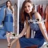 Seoul Secret Say's... Fashionista Anna V Lace Denim Dress Material : เดรสทรงเก๋ งานเก๋ด้วยเนื้อผ้ายีนส์ ดีไซน์งานสวยด้วยงานเย็บแต่งด้วยผ้าลูกไม้แต่งที่ช่วงตัวเสื้อ เติมด้วยงานฟอกแต่งสีเป็นสีทูโทนแต่งเป็นลายกระเป๋า ทรงสวยด้วยเดรสคอแต่งวี สวยเก๋มีสไตล์