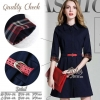 สินค้าพร้อมส่ง 한국에 의해 설계된 2Sister Made, Navy Smart Lady Dress With Red Cuties Belt เดรสลุคเรียบหรู เนื้อผ้าโพลีเกรดดี ดีเทลคอปก มีกระดุมผ่าหน้า แขนยาวสี่ส่วน ปลายแขนแต่งผ้าลายสก็อตเก๋ๆ กระโปรงระบายบานสวย มาพร้อมกับเข็มขัดสีแดงใส่เข้าชุดกัน สามารถใส่ได้หลา