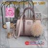 """รุ่น Limited มาจำนวนจำกัดคะ สีใหม่ """" Lavender two tone """" หนังชนิดพิเศษ เฟสลายหนัง สวยมาก มาพร้อม pompom ขนยาวเข้า set ดีเทลกระเป๋า สินค้าขายดี ขนาด มินิ สวยมากคะ >> รุ่น KEEP Grey two tone leather Pillow bag สวย น่ารัก ขนาดตอบทุกโจทย์การใช"""