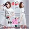 SEVY , New tide students Korean version of bf micro fat girls cover belly loose straight chest meat dress. Type : Mini dress Fabric : Polyester 70% + Cotton 30% Detail : Mini dress ลุคคุณหนูน่ารัก ดีเทลห้าส่วนชายแขนเย็บต่อด้วยเนื้อผ้าลูกไม้ คอกลม งานสกรีน
