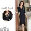 สินค้าพร้อมส่ง 한국에 의해 설계된 2Sister Made, Black Gorgeous Sparkling Lady Dress เดรสสีดำลุคเรียบหรู เนื้อผ้าcottonผสมpolyesterหนาเกรดดี ดีเทลแขนยาวสี่ส่วน ช่วงอกด้านข้างแต่งประดับปักเพชรสวยหรู แพทเทิร์นเว้าเข้ารูปใส่เป็นทรงสวยค่ะ ปลายกระโปรงระบายบานทรงหางปลา