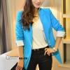 เสื้อผ้าแฟชั่นนำเข้า : เสื้อสูทแฟชั่น พร้อมส่ง แขนยาวแต่งแขนพับ เข้ารูป สีฟ้า คอปก แต่งขลิบสีขาวเก๋ๆ งานสวยดีไซน์เก๋มากๆ