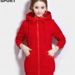 เสื้อกันหนาวแฟชั่นเกาหลี : เสื้อกันหนาว พร้อมส่ง สีแดง ซิปหน้า มีฮูท สุดเท่ห์ๆ อินเทรนสุดๆ สำหรับหนาวนี้