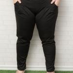 กางเกงไซส์ใหญ่ขายาวผ้าโพลีเอสเตอร์สีดำมีกระเป๋าสองข้างติดยางยืดช่วงเอว (4XL,5XL,6XL)