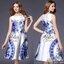 2Sister Made, White & Blue Premium Paradise Korea Vintage Dress เดรสแขนกุดลุคเรียบหรู เนื้อผ้าpolyester+silkมันเงาสวย พิมพ์ลายสวยมากค่ะ ดีเทลแขนกุด งานมีซิปด้านหลังจ้า กระโปรงระบายบานสวย งานมีซับในอย่างดีค่ะ งานป้าย2sister สินค้านำเข้างานพรีเมียมนะคะ Cutt thumbnail 1