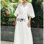 Lady Ribbon's Made Lady Jessica Little Princess Embroidered Chiffon Long Dress with Camellia Belt เดรสผ้าชีฟองปักลายสีขาวตกแต่งเข็มขัดดอกคามิลเลีย ตัวนี้สวยมากค่ะ เป็นเดรสยาว ใส่ออกงานได้เลย เนื้อผ้าเป็นชีฟองเนื้อหนาปักลายจุดเป็นแพทเทิร์นตารางทั่วตัว thumbnail 6