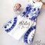 2Sister Made, White & Blue Premium Paradise Korea Vintage Dress เดรสแขนกุดลุคเรียบหรู เนื้อผ้าpolyester+silkมันเงาสวย พิมพ์ลายสวยมากค่ะ ดีเทลแขนกุด งานมีซิปด้านหลังจ้า กระโปรงระบายบานสวย งานมีซับในอย่างดีค่ะ งานป้าย2sister สินค้านำเข้างานพรีเมียมนะคะ Cutt thumbnail 7
