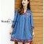 NEW ARRIVAL 2018 KOREA DESIGN BY WONDER DRESS SHOP สินค้าพร้อมส่งจร้า เดรสเชิ๊ตตัวนี้งานสวยมากค่ะแม่ค้าแนะนำเลยจร้างานสวยมากค่ะตัวนี้ทำจากผ้ายีนส์สีเข้มเนื้อนิ่มสีเข้มแต่งดีเทลด้วยการปักลายชนเผ่าน่ารักด้วยด้ายสีสันสวยงามช่วงหน้าอกชายเดรสและปลายแขนค่ะงานปั thumbnail 6